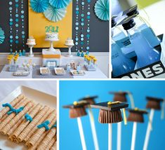 Cute treats for graduation party. Love the peanut butter cup caps!