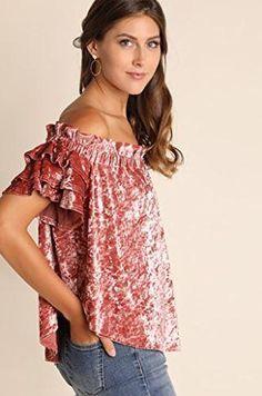 blush crush velvet off shoulder top – GEZZELIG