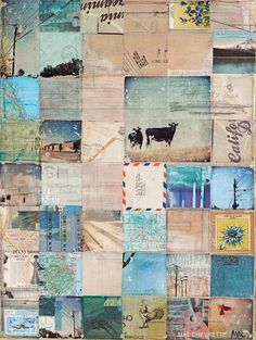 Artist: Mae Chevrette // use squares of collage as a journal-planner or page with photos or unique papers; could also vent-journal and then collage over it idea by Art Journal Inspiration, Mail Art, Art Projects, Painting, Illustration Art, Art, Abstract, Paper Art, Altered Art