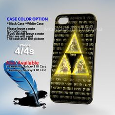 The Legend Of Zelda Trifor, Print on Hard Cover iPhone 4/4S Black Case   MonggoDiTumbas - Accessories on ArtFire