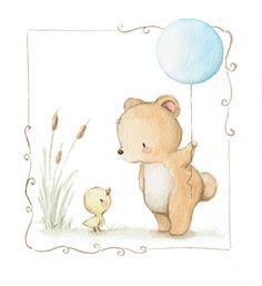 Ilustracion infantil oso con globo