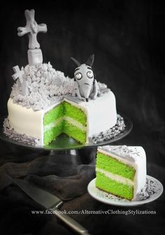 IDEA....Frankenweenie cake!  monotone grey scale colors on the outside and a bright color on the inside.