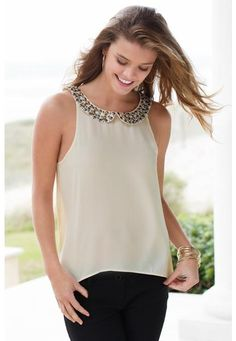 $19.90  EMBELLISHED COLLAR TOP