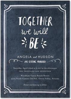 Chalked Together - Signature White Wedding Invitations - BHLDN - Slate - Gray : Front