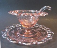 Pink Depression Glass Mayo Set, Old Colony pattern, circa 1935-1938