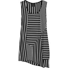 Anna Sui black and white striped jersey tank with asymmetric panels Striped Jersey, Striped Tank, Pinstripe Pants, Vertical Stripes, Urban Fashion, Frocks, Anna Sui, Black And White, Stuff To Buy