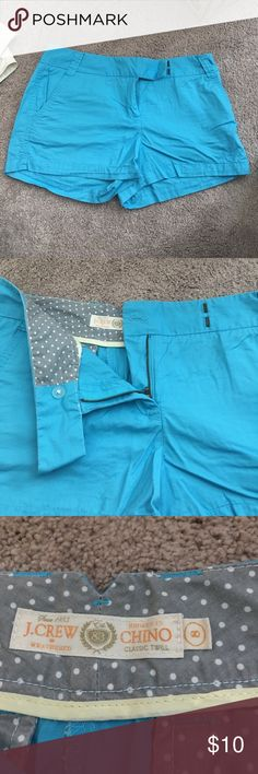 J. Crew shorts Tiffany blue J.Crew shorts. Size 8. All buttons and zipped/ clasp intact. Like new from a smoke free home! J. Crew Shorts