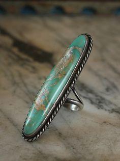 1920s Large Turquoise Matrix Navajo Ring, Sterling