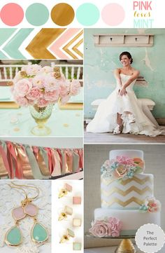 Pink & Mint #wedding #colors #pink #mint #gold #Jellifi