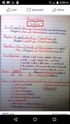 English Grammar Notes, Teaching English Grammar, Grammar Lessons, English Language Learning, English Vocabulary, Learn English Words, English Study, English Lessons, Teaching 6th Grade
