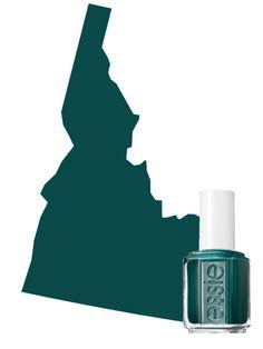 The Most Popular Nail Polish Color in Idaho: Dark Green -   Essie nail polish in Stylenomics | allure.com