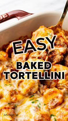 Cheesy Pasta Recipes, Tortellini Recipes, Chicken Recipes, Pasta Bake Recipes, Best Pasta Recipes, Healthy Eating Recipes, Raw Food Recipes, Italian Recipes, Dinner Recipes