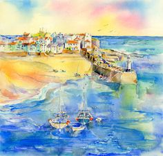 St Ives Harbour...watercolour...Sheila Gill