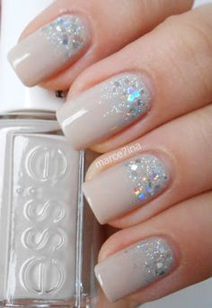 Essie - Sand Tropez, China Glaze - Glistening Snow, Essence - 02 Julia wooow, love this nails and color #love nails #nails #nude and glitter #uñas #boda #wedding #bride nails #novia