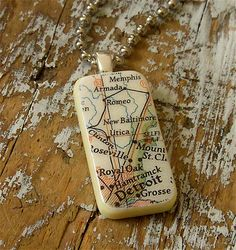 LOVE this!  Detroit map necklace with all my burbs on it!