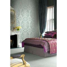 Seabrook Wallpaper ON41204 - Opulent - Medallion design wallcovering in a bedroom photo