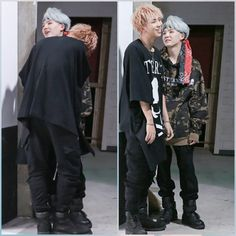 out of context it SERIOUSLY looks like Namjoon was kissing Yoongi's neck and i am Q U A K I N G . The height difference literally made me cry because of how cute and squishy yoongi is and how intimidating namjoon looks but like idk im just crying because Namgi finally made a statment