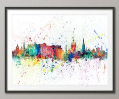 Edinburgh Skyline, Edinburgh Scotland Cityscape Art Print (1964) by artPause on Etsy