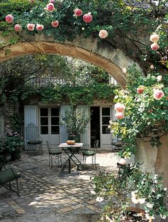 From A Home in Provence. Perfect French terrace ready for spending a day reading, maybe some bread and olives and special things from the… French Cottage Garden, Cottage Garden Design, French Country Cottage, French Country Style, French Garden Ideas, Cottage Gardens, French Courtyard, French Patio, Provence Garden