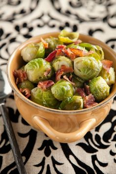 Paula Deen...Brussel Sprouts with Onions and Bacon