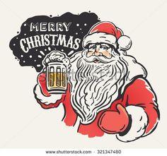 Jolly Santa Claus with a beer mug in hand. - stock vector