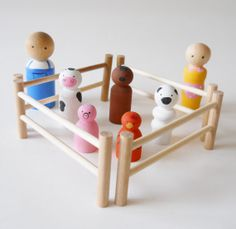 Little Peg People Farm Set Set of 12 farm animals by 2HeartsDesire, $14.99  Hand made in the U.S.A.