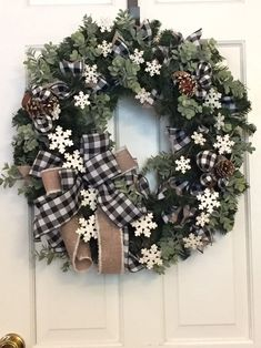 Traditional Farmhouse Snowflake Christmas Winter wreath for front door Winter Wreaths, Christmas Wreaths, Handcrafted Gifts, White Pumpkins, Buffalo Check, Wreaths For Front Door, Crafts To Make, Snowflakes, Craft Projects