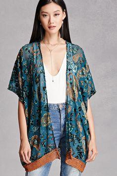 Angie Velvet Applique Kimono