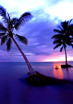 A beautiful sunset on Savusavu Bay in Fiji at Jean-Michel Cousteau Resort.