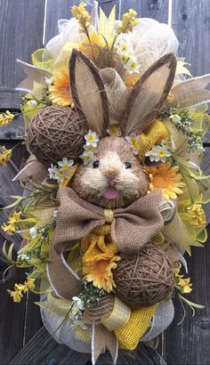 Reserved Listing Bunny Wreath Easter Swag Spring by BaBamWreaths