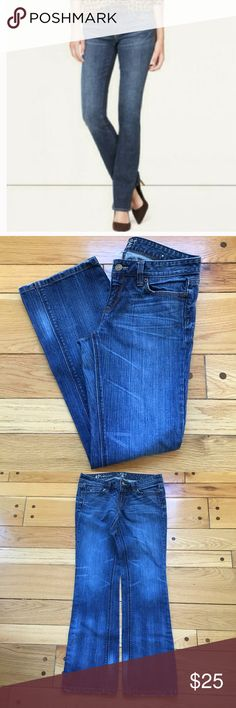 """LOFT Original Boot Cut Jeans LOFT jeans, size 4P (petite) with scattered whiskering and fading and mild fraying at both hems and pockets (front and back). When flat, waist measures about 14.5"""" across, front rise is about 7 1/4"""" and inseam is 29"""". 99% cotton, 1% spandex. LOFT Jeans Boot Cut"""