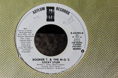 Booker T. & The M.G's Sticky Stuff White Label Promotional 45-rpm Record