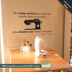 Items similar to Wall Decal : Sewing Quote Vinyl Wall Art Craft Quote Sticker - Wall Decor - Craft Room Decor - on Etsy Sewing Room Decor, My Sewing Room, Sewing Rooms, Love Sewing, Wall Decor Crafts, Craft Room Decor, Craft Rooms, Wall Decor Stickers, Wall Decals