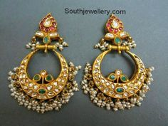 22 carat gold chand bali earrings studded with rubies, polki diamonds, emeralds and hanging small basara pearls at the bottom