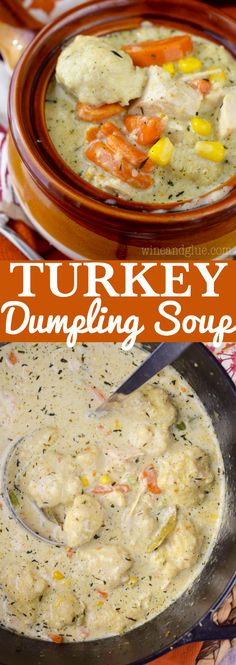 Turkey Dumpling Soup is the most amazing comfort food! Easy enough for a weeknight meal, good enough for guests!This Turkey Dumpling Soup is the most amazing comfort food! Easy enough for a weeknight meal, good enough for guests! Turkey And Dumplings, Dumplings For Soup, Dumpling Recipe, Leftover Turkey Recipes, Leftovers Recipes, Turkey Leftovers, Recipe For Turkey Soup, Turkey Dinner Ideas, Cream Of Turkey Soup