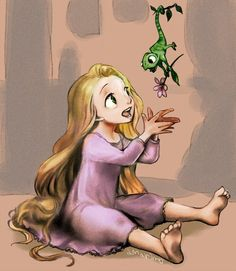Rapunzel as a little kid and pascal as a little Camelion. You know Rapunzel has not that long hair as a child.