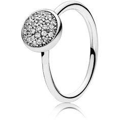 Pandora Ring - Sterling Silver & Cubic Zirconia Dazzling Droplet (170 BRL) ❤ liked on Polyvore featuring jewelry, rings, silver, pandora jewellery, cz jewellery, cubic zirconia rings, cz rings and sterling silver cz rings