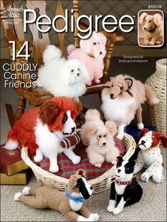 Using worsted yarn, you can crochet an Apricot Poodle, Basset Hound, Boston Terrier, Cocker Spaniel, Pekingese, Golden Retriever with Puppy, Boxer, St. Bernard, English Springer Spaniel, Collie and Irish Setter. Dachshund and Scottish Terrier are not...