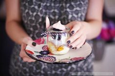 Eton Mess Trifle (meringue, pears, black berries)
