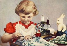 1957 Girl Toy Bunny Sewing Machine Rare RRR Russian Unposted postcard