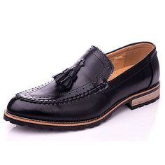 Black Leather Wedding Prom Dress Moccasin Shoes for Men SKU-1100243