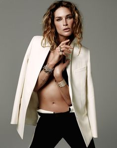 Erin Wasson is a Diamond Girl in David Roemers Story for the Evening Standard     White blazer and amazing jewels. LOVE LOVE