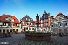 Market fountain on the market square Heppenheim Hessische Bergstrasse Hesse Germany