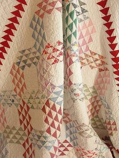 Gorgeous Vintage Ocean Waves Quilt ~ Great Red Flying Geese Border | eBay