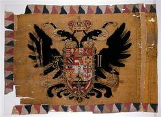 Réunion des Musées Nationaux-Grand Palais - Drapeau autrichien pris en 1805. Imperial Eagle, Holy Roman Empire, Grand Palais, Napoleonic Wars, Coat Of Arms, Lorraine, Hungary, Eagles, Austria
