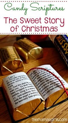 Candy Scriptures~~I made up a few to give away and have put together the instructions on how I made mine. I have also attached a pdf printable with the tiny little scripture story of Jesus' birth found in Luke Noel Christmas, Christmas Goodies, A Christmas Story, Christmas Projects, Christmas Treats, All Things Christmas, Holiday Crafts, Holiday Fun, Christmas Decorations