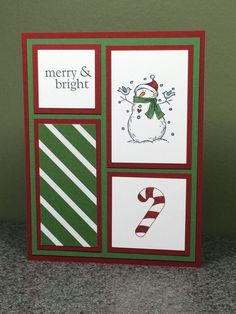 Stampin Up Handmade Christmas Card Snowman Christmas In July Combined Shipping #Handmade #Christmas