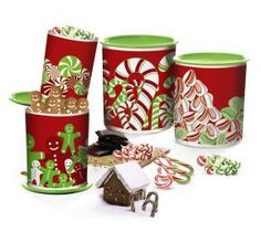 Tupperware | Candy Cane One Touch(r) Canisters