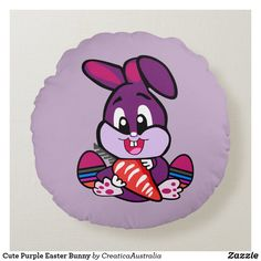 Cute Purple Easter Bunny Round Cushion