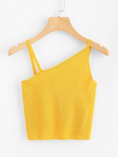 To find out about the Asymmetrical Neck Knit Crop Top at SHEIN, part of our latest Tank Tops & Camis ready to shop online today! Summer Outfits, Cute Outfits, Crop Tops Online, Scarlett, Yellow Fabric, Color Yellow, Cute Tops, Ideias Fashion, Fashion Outfits